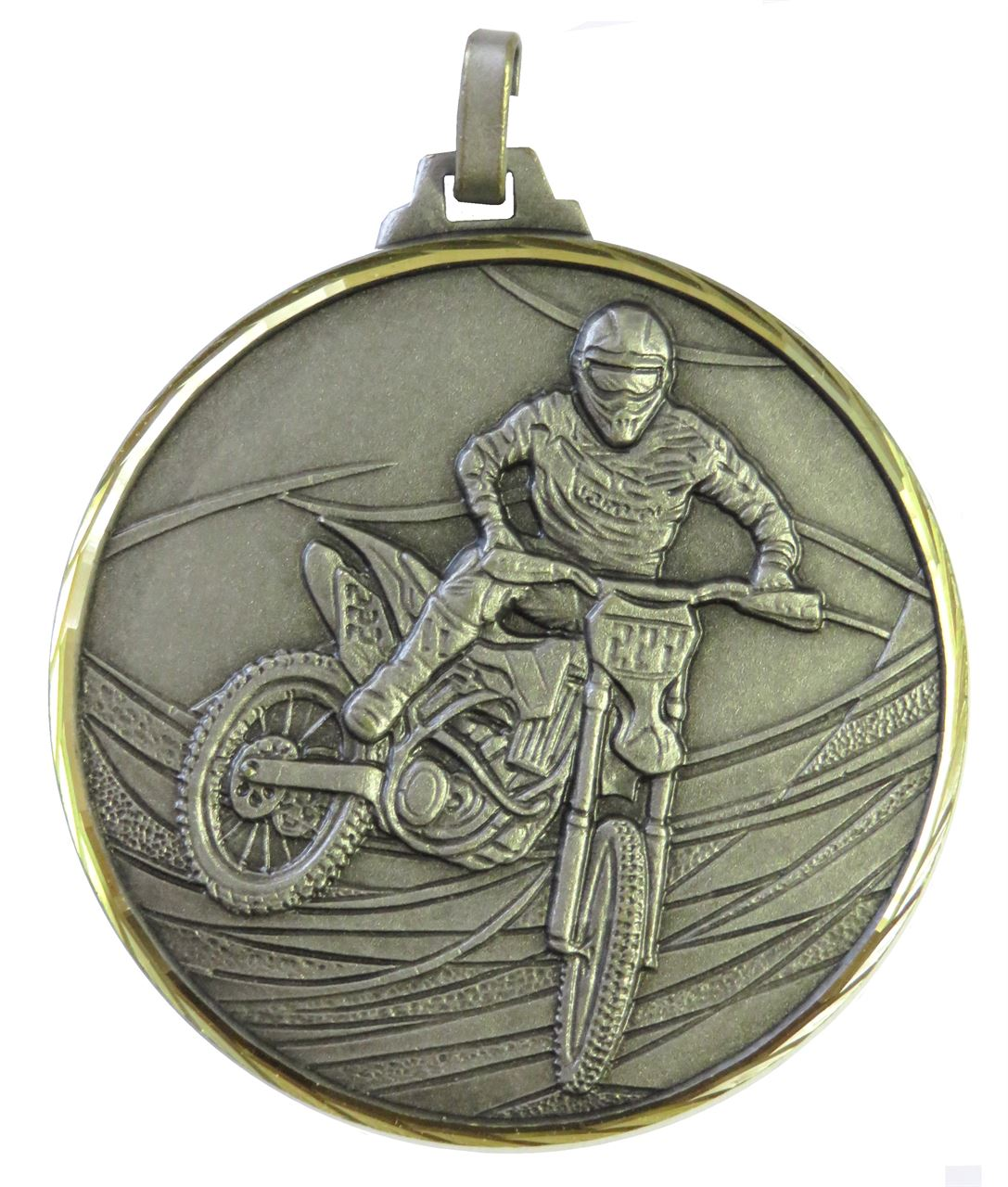 Silver Faceted Motorcross Medal (size: 52mm) - 439F