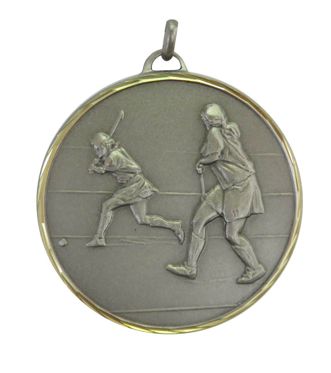Silver Faceted Hockey Medal (size: 50mm) - 405F