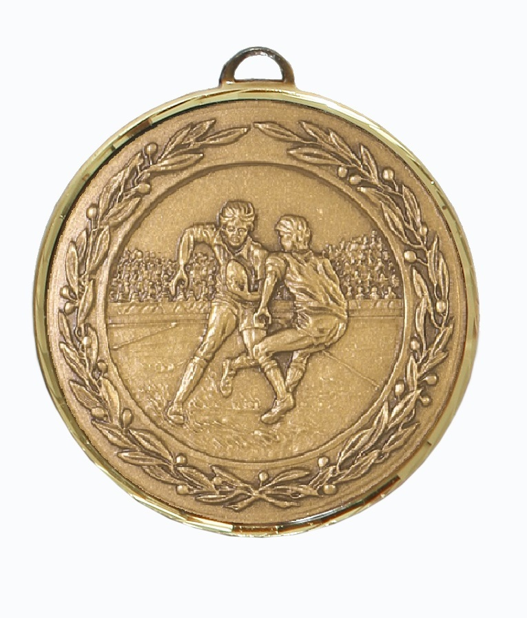 Antique Gold Premium Classic Rugby Medal (size: 50mm) - 4281F