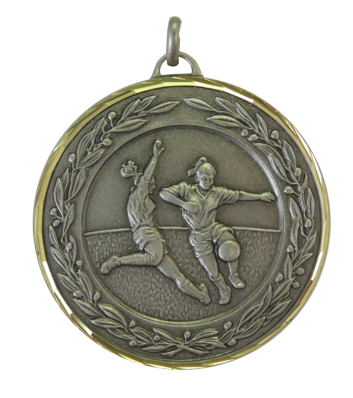 Silver Premium Classic Ladies Football Medal (size: 50mm) - 9725F