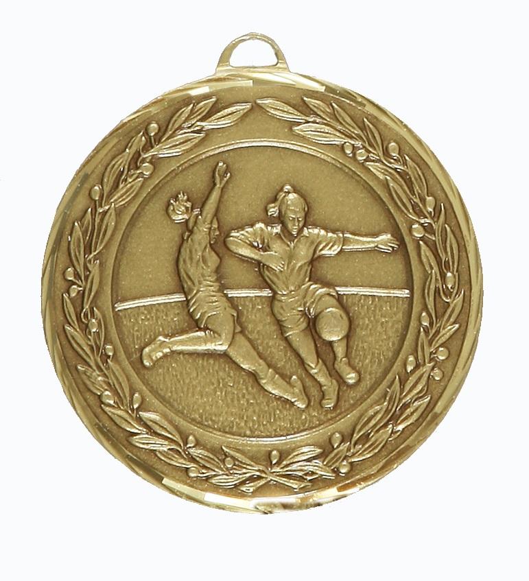 Bronze Premium Classic Ladies Football Medal (size: 50mm) - 9725F