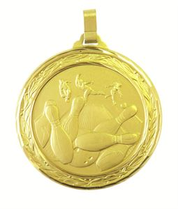 Gold Faceted Ten Pin Bowling Medal - Large (size: 60mm) - 404FL