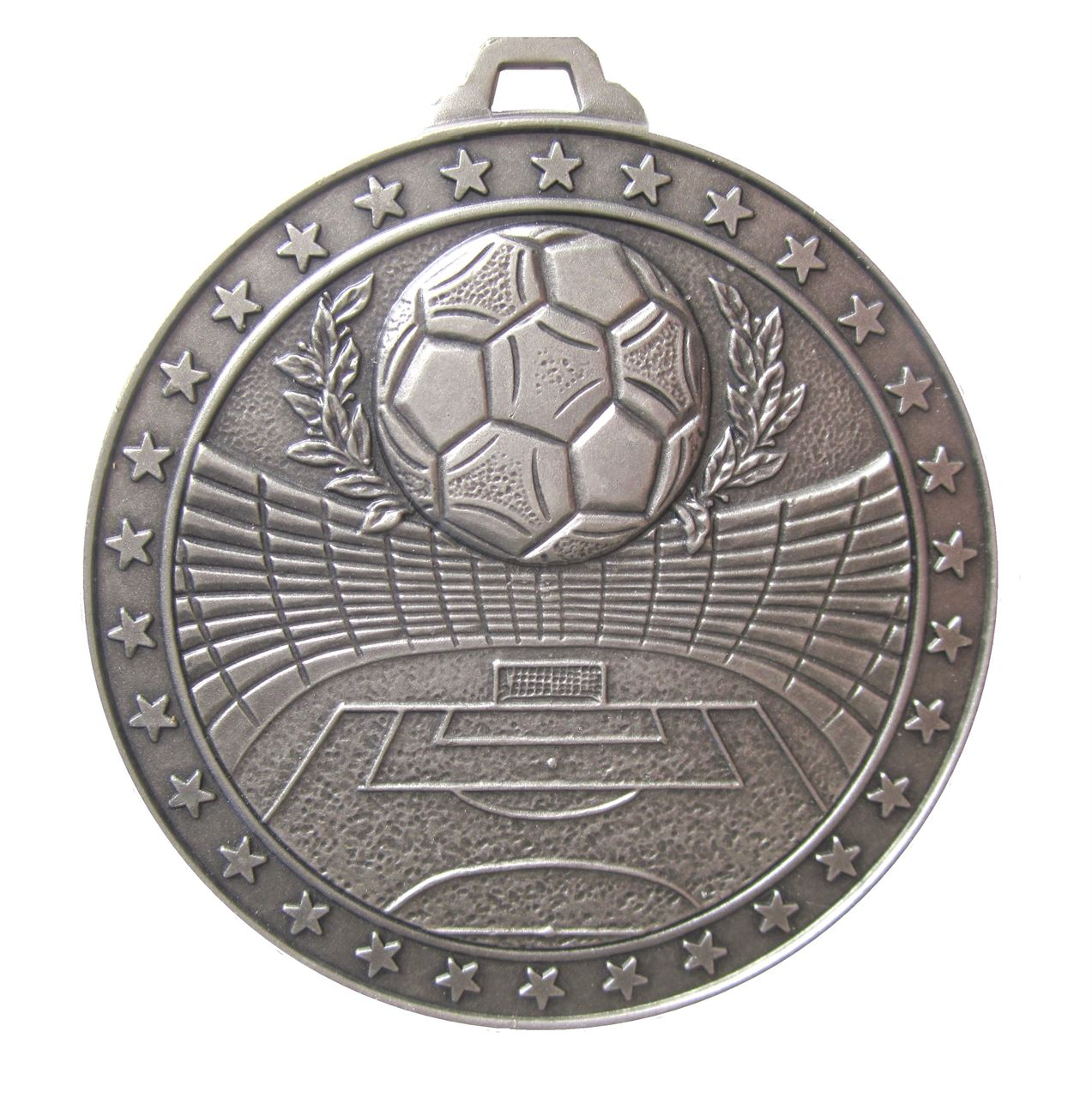 Silver Economy Football Stadium Medal (size: 60mm) - 435E