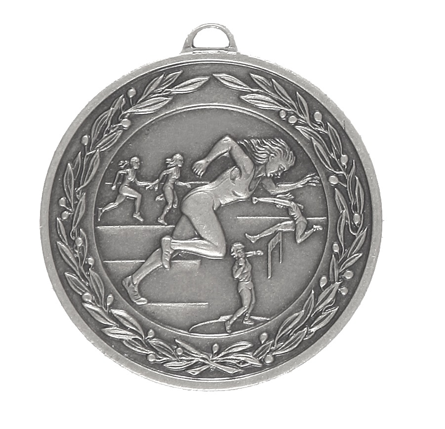 Silver Laurel Economy Female Track & Field Medal (size: 50mm) - 9683E