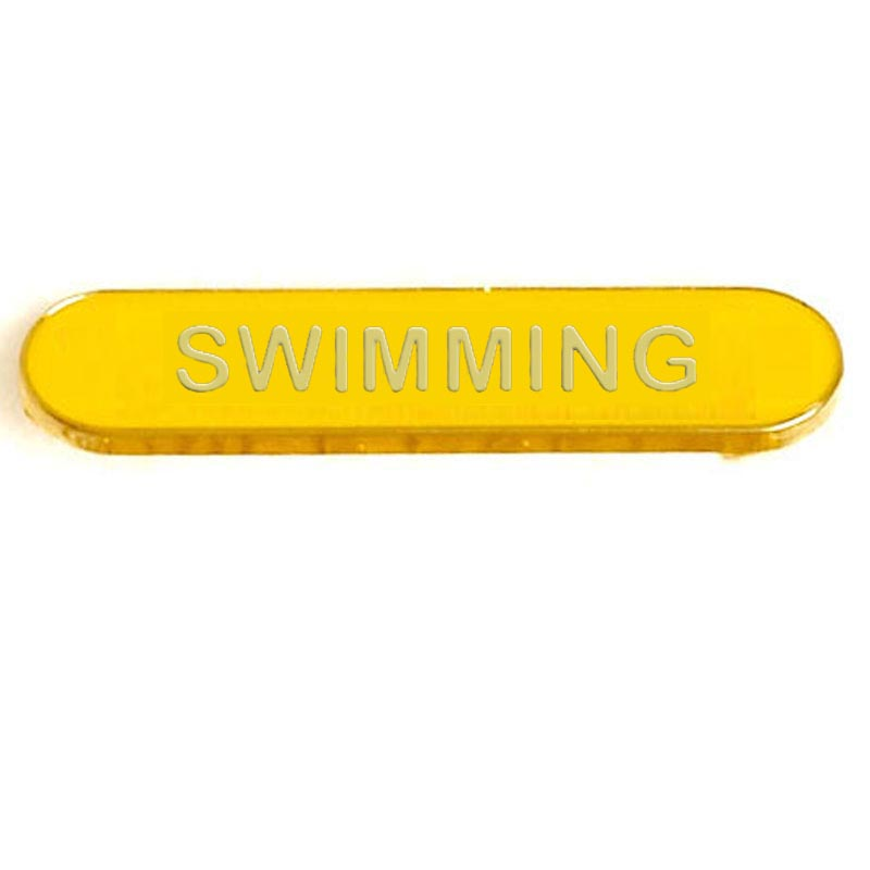 Swimming Metal School Bar Badge - SB050Y