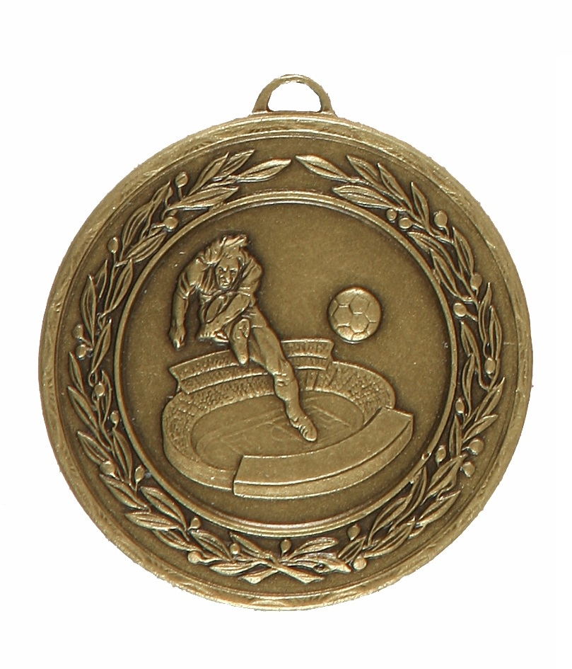 Bronze Laurel Economy Football Stadium Medal (size: 50mm) - 4035E