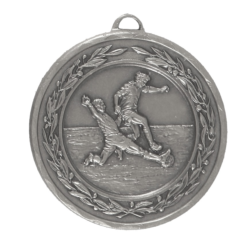 Silver Laurel Economy Football Medal (size: 50mm) - 4025E