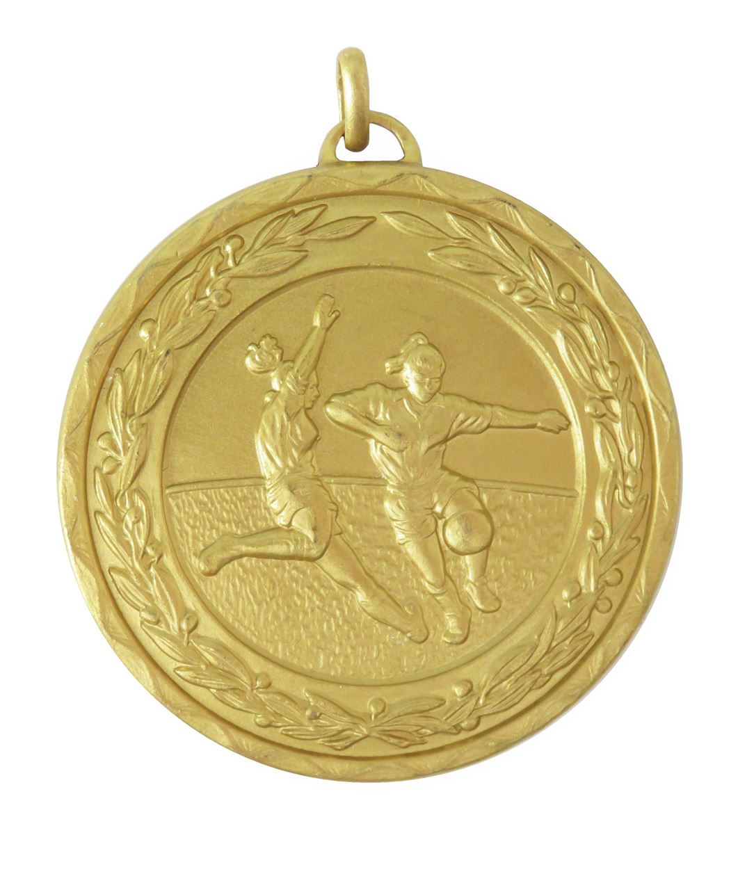Gold Laurel Economy Woman's Football Medal (size: 50mm) - 9725E