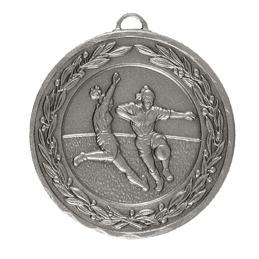 Silver Laurel Economy Woman's Football Medal (size: 50mm) - 9725E