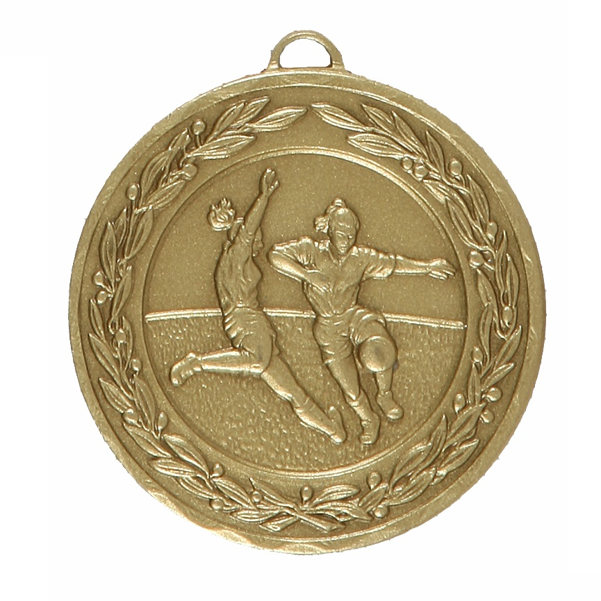 Bronze Laurel Economy Woman's Football Medal (size: 50mm) - 9725E
