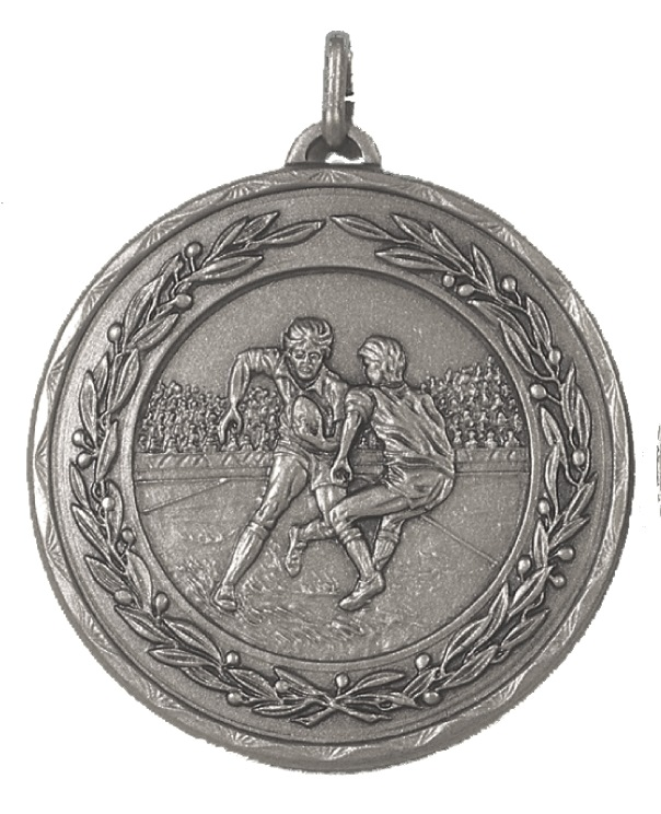 Silver Laurel Economy Rugby Medal (size: 50mm) - 4281E