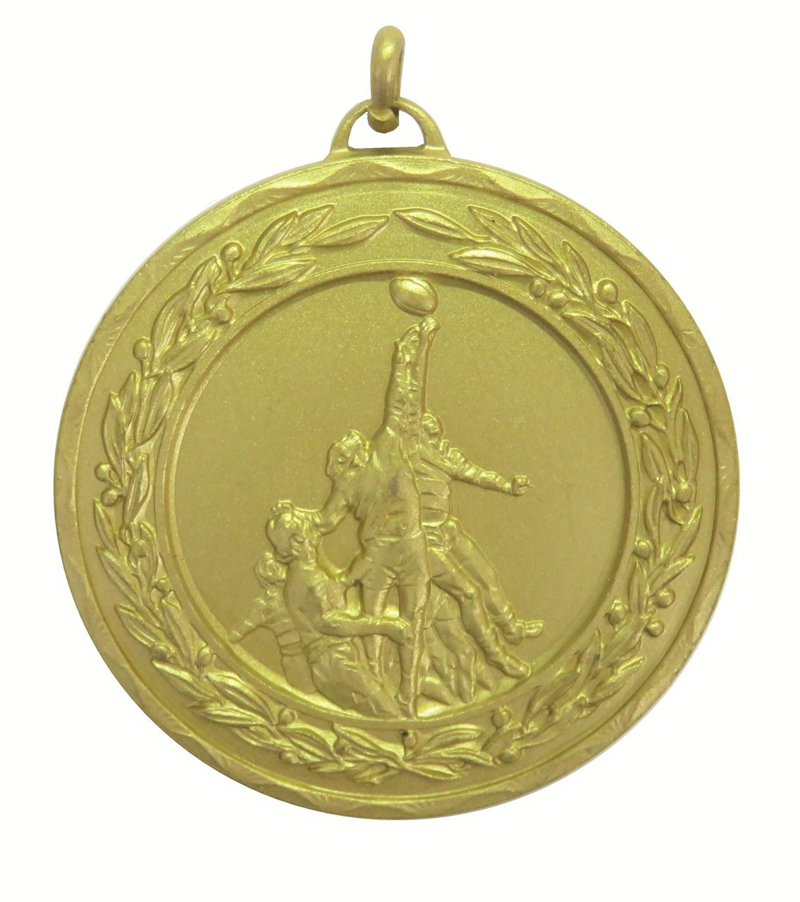 Gold Laurel Economy Rugby Lineout Medal (size: 50mm) - 4280E