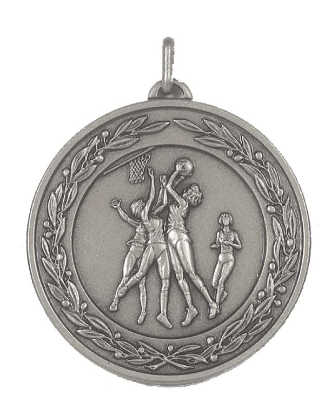 Silver Laurel Economy Netball Medal (size: 50mm) - 9769E