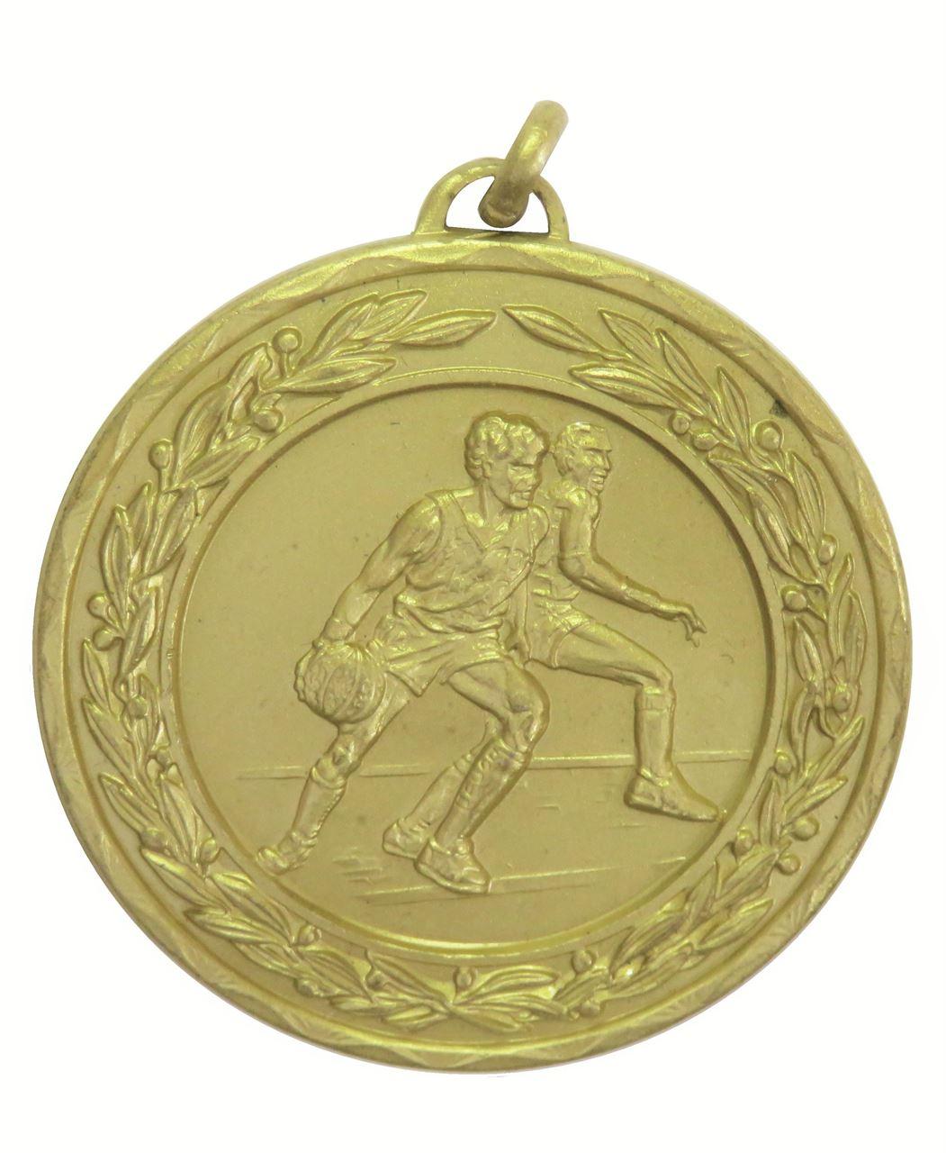 Gold Laurel Economy Basketball Medal (size: 50mm) - 4075E