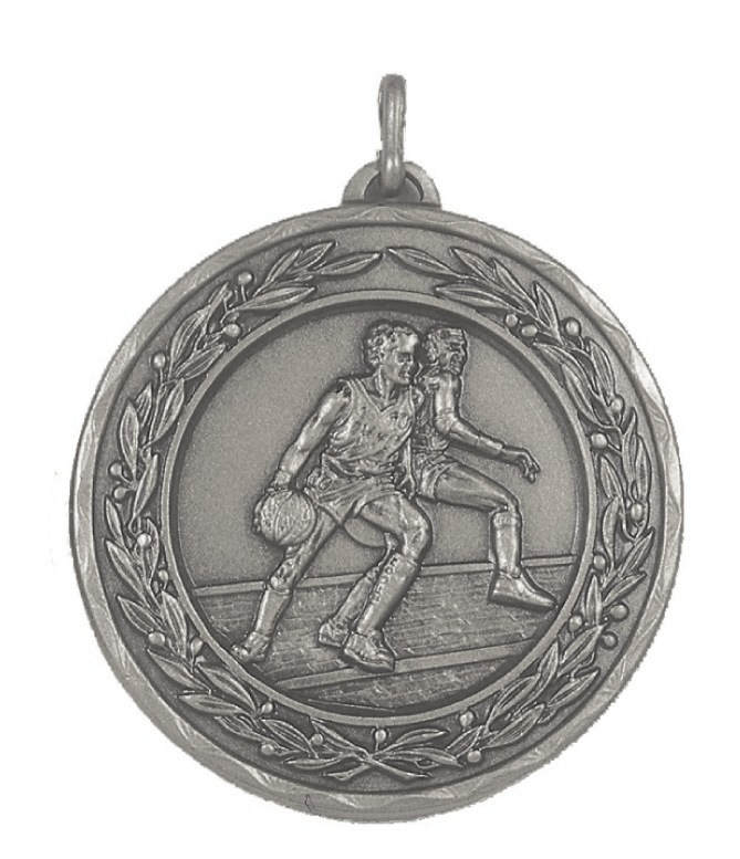 Silver Laurel Economy Basketball Medal (size: 50mm) - 4075E