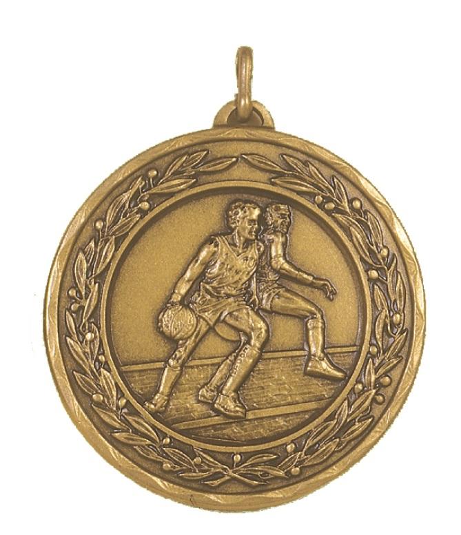 Bronze Laurel Economy Basketball Medal (size: 50mm) - 4075E