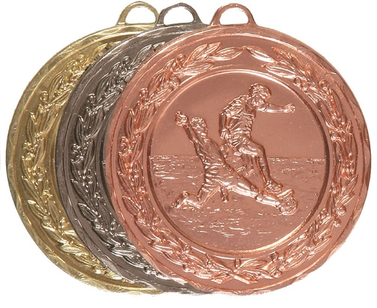 Gold, Silver or Bronze Laurel Economy Football Medal (size: 50mm) - 4025EB