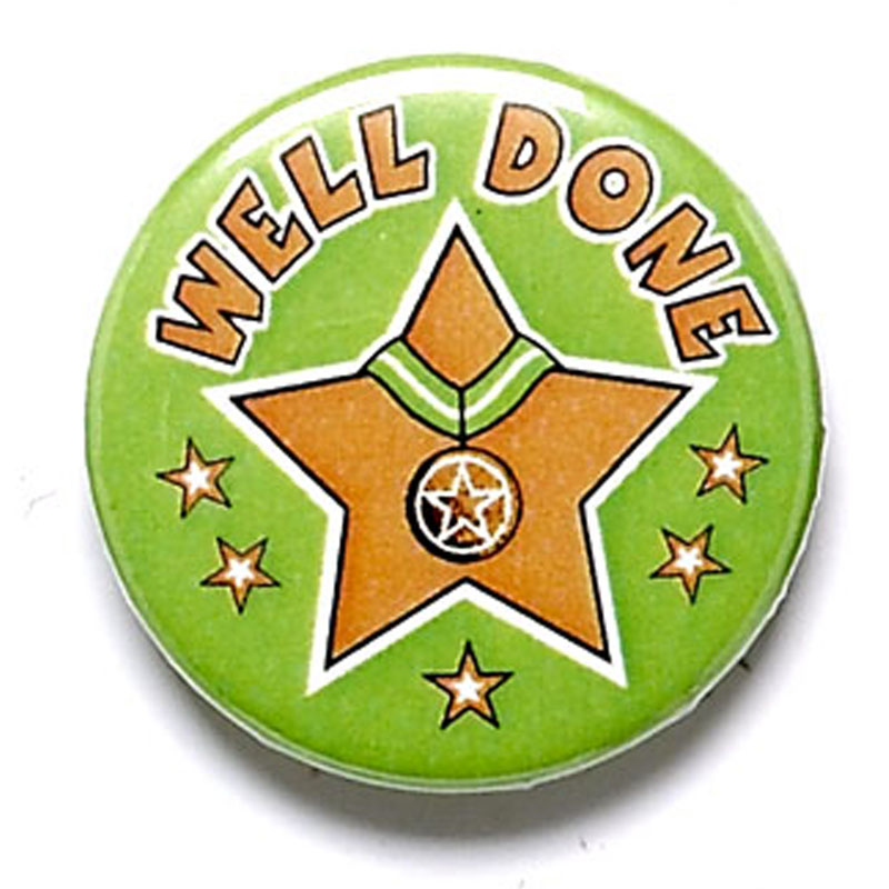 Well Done School Button Badge - BA020