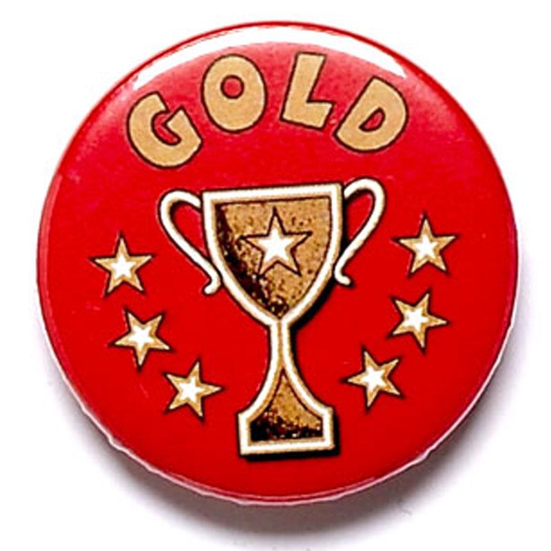 Gold Cup School Button Badge - BA005