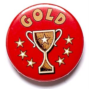 Gold Cup School Button Badge - BA005