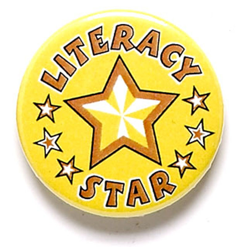 Literacy Star School Button Badge - BA045