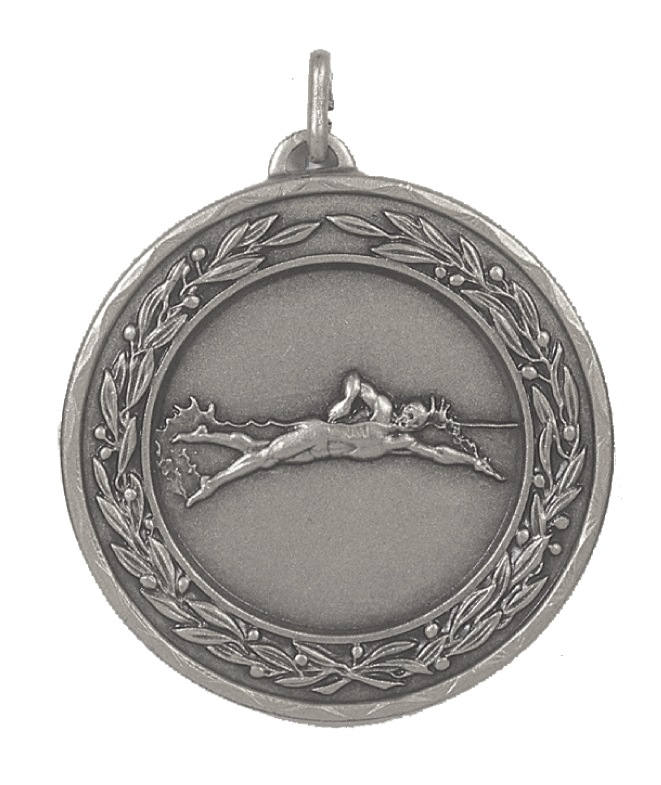 Silver Laurel Economy Male Swimming Medal (size: 50mm) - 4230E