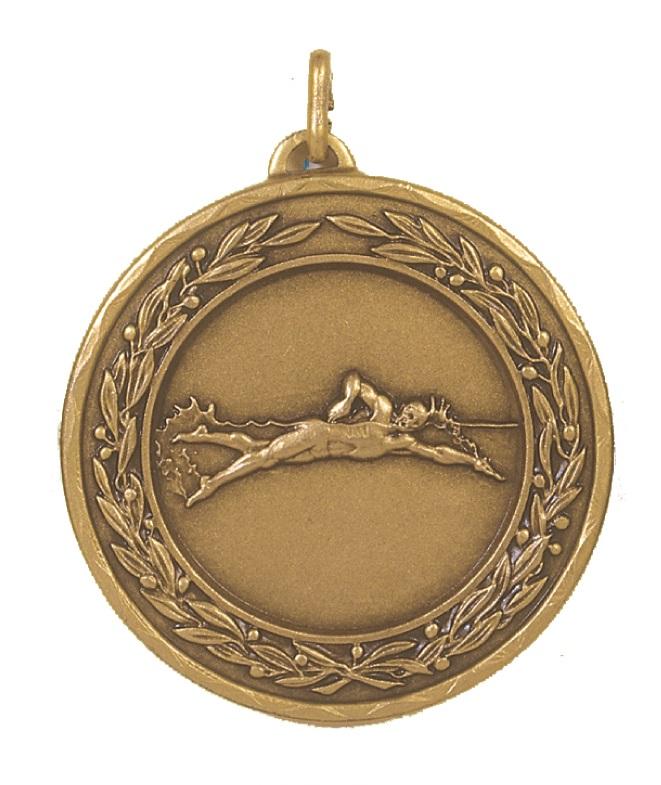 Bronze Laurel Economy Male Swimming Medal (size: 50mm) - 4230E