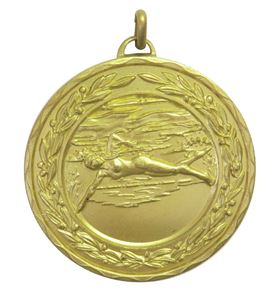 Gold Laurel Economy Female Swimming Medal (size: 50mm) - 4220E