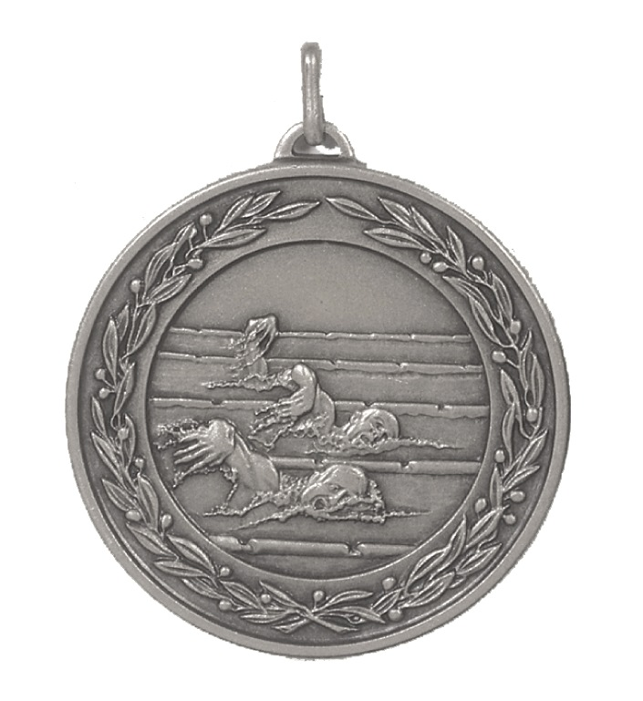 Silver Laurel Economy Male Swimmers Medal (size: 50mm) - 9694E
