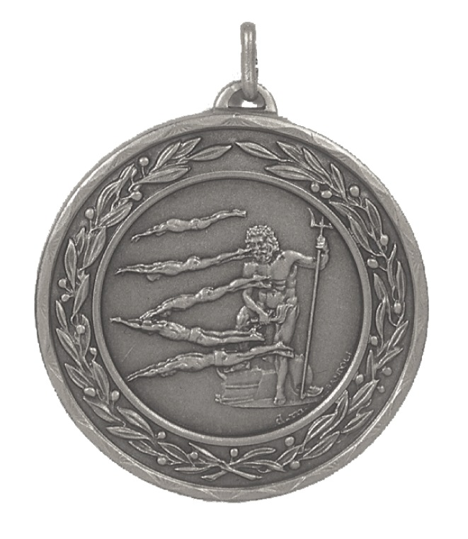 Silver Laurel Economy Poseidon Swimming Medal (size: 50mm) - 4231E
