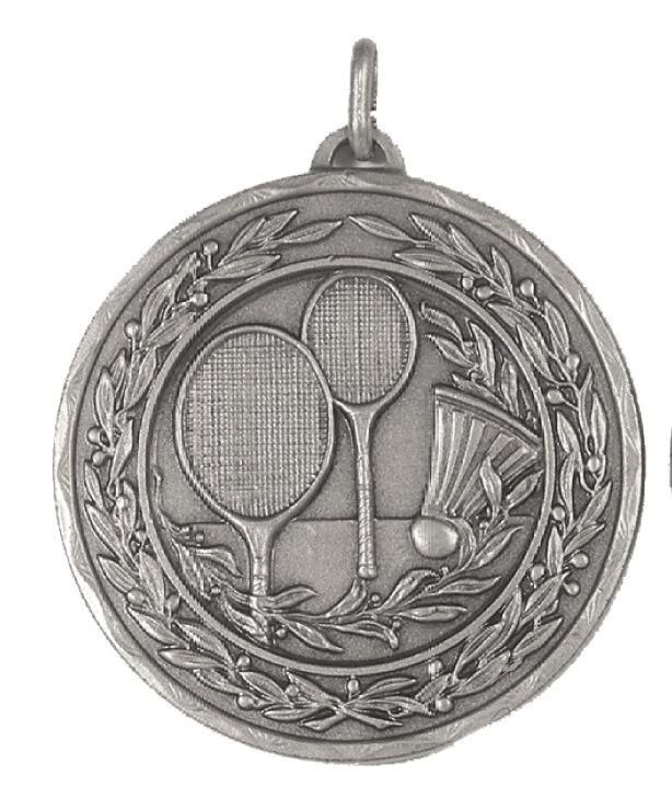 Silver Laurel Economy Badminton Medal (size: 50mm) - 4181E