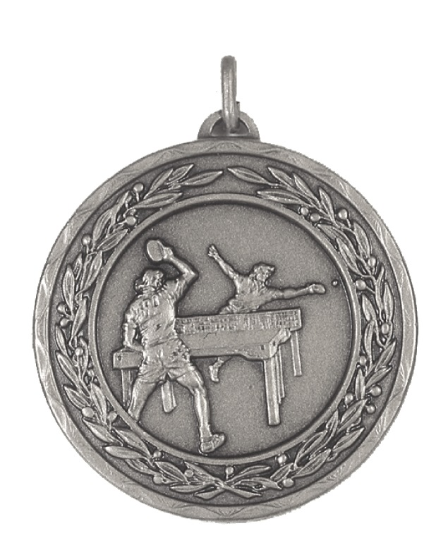 Silver Laurel Economy Table Tennis Medal (size: 50mm) - 4140E