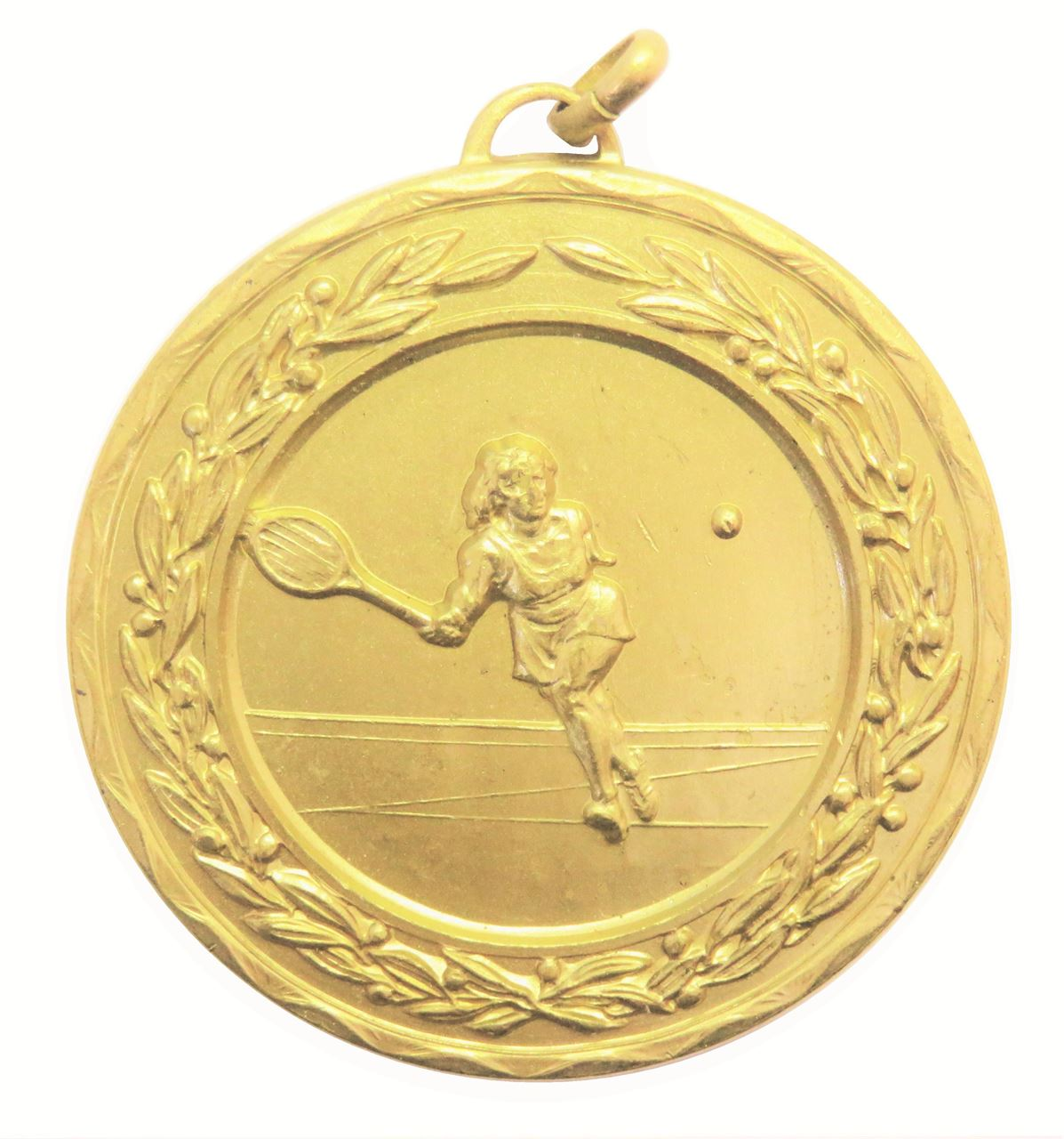 Gold Laurel Economy Ladies Tennis Medal (size: 50mm) - 4175E