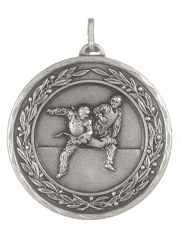 Silver Laurel Economy Martial Arts Medal (size: 50mm) - 4205E