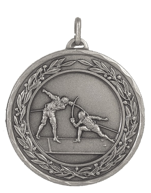 Silver Laurel Economy Fencing Medal (size: 50mm) - 4310E