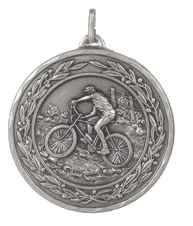 Silver Laurel Economy Mountain Bike Medal (size: 50mm) - 4255E