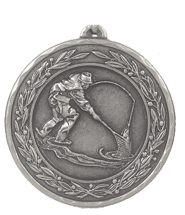 Silver Laurel Economy Fishing Medal (size: 50mm) - 4105E