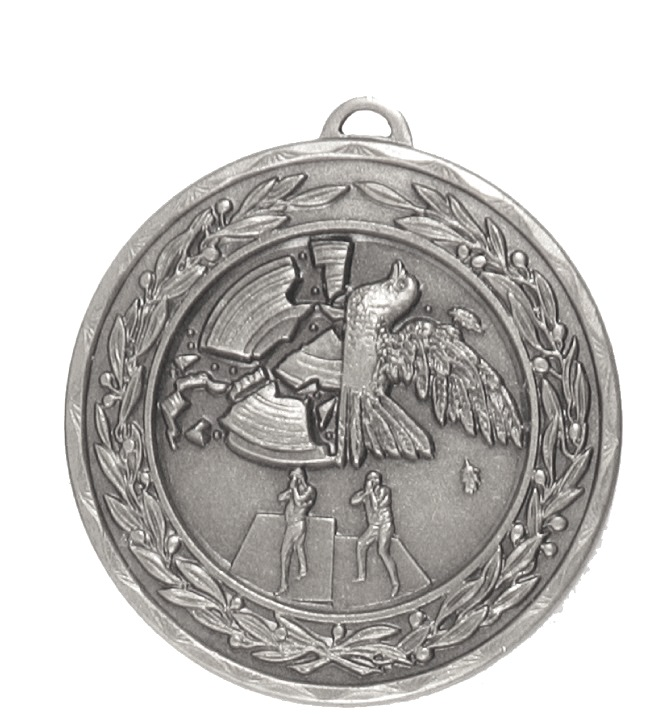 Silver Laurel Economy Clay Pigeon Medal (size: 50mm) - 4190E