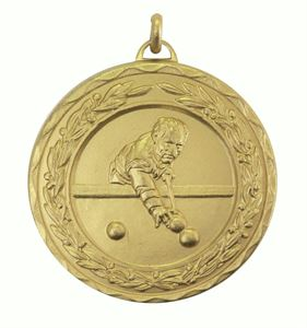 Gold Laurel Economy Snooker / Pool Medal (size: 50mm) - 4015E
