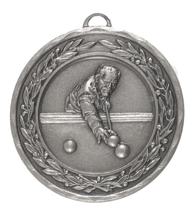 Silver Laurel Economy Snooker / Pool Medal (size: 50mm) - 4015E