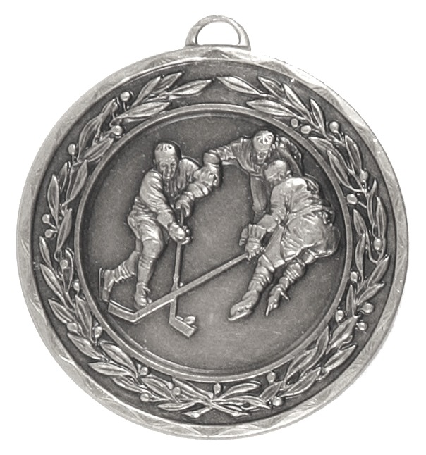 Silver Laurel Economy Ice Hockey Medal (size: 50mm) - 4170E