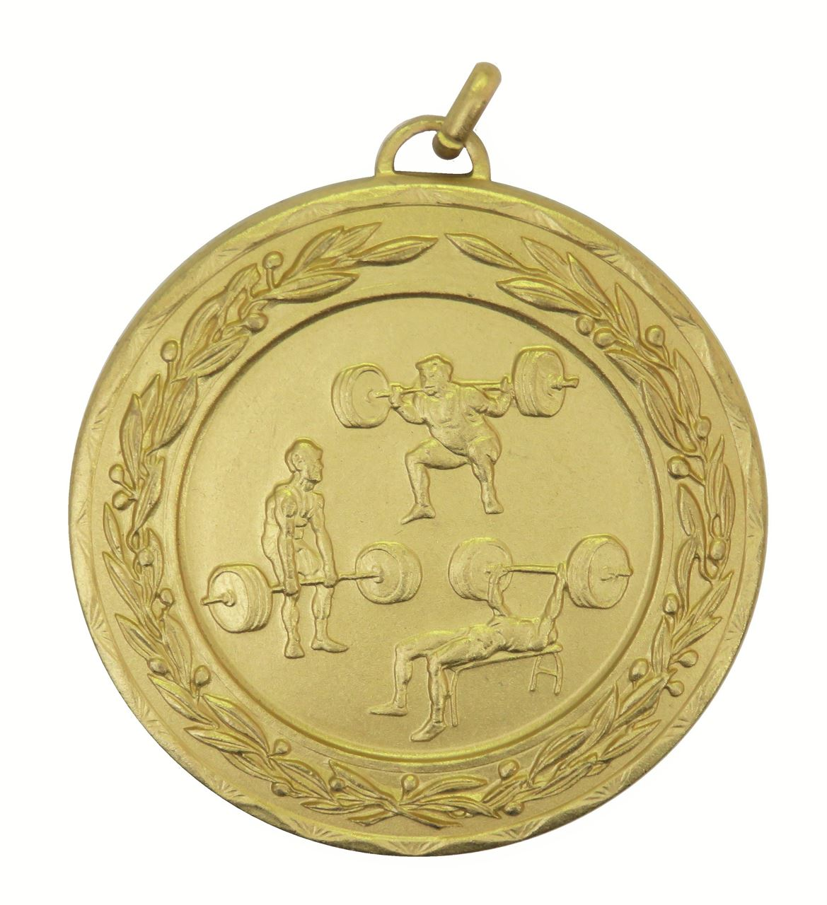 Gold Laurel Economy Weightlifting Medal (size: 50mm) - 4287E