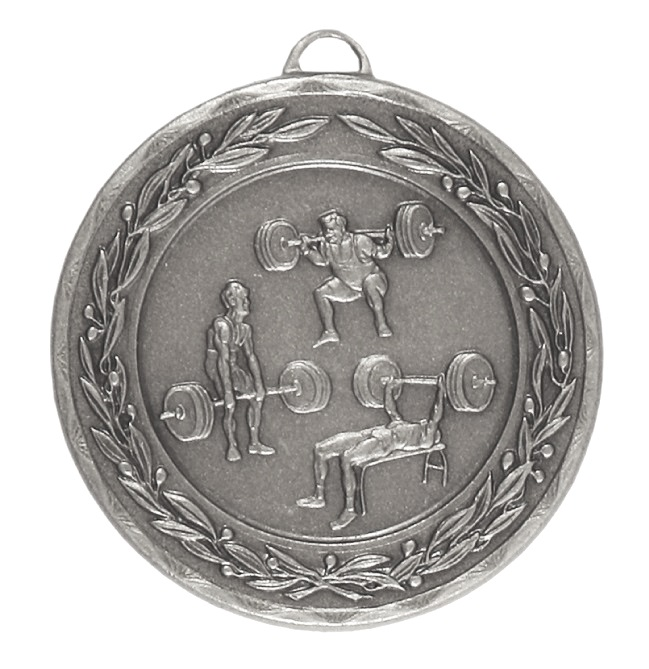 Silver Laurel Economy Weightlifting Medal (size: 50mm) - 4287E