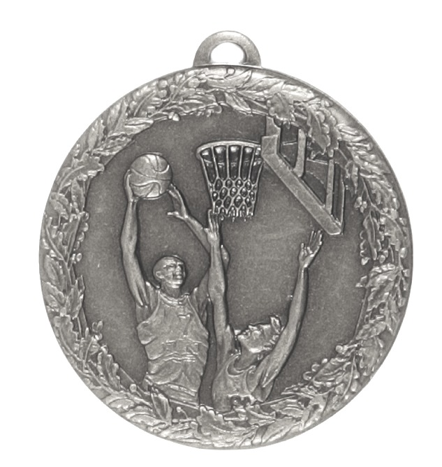 Silver Laurel Economy Basketball Jump Medal (size: 50mm) - 5415E