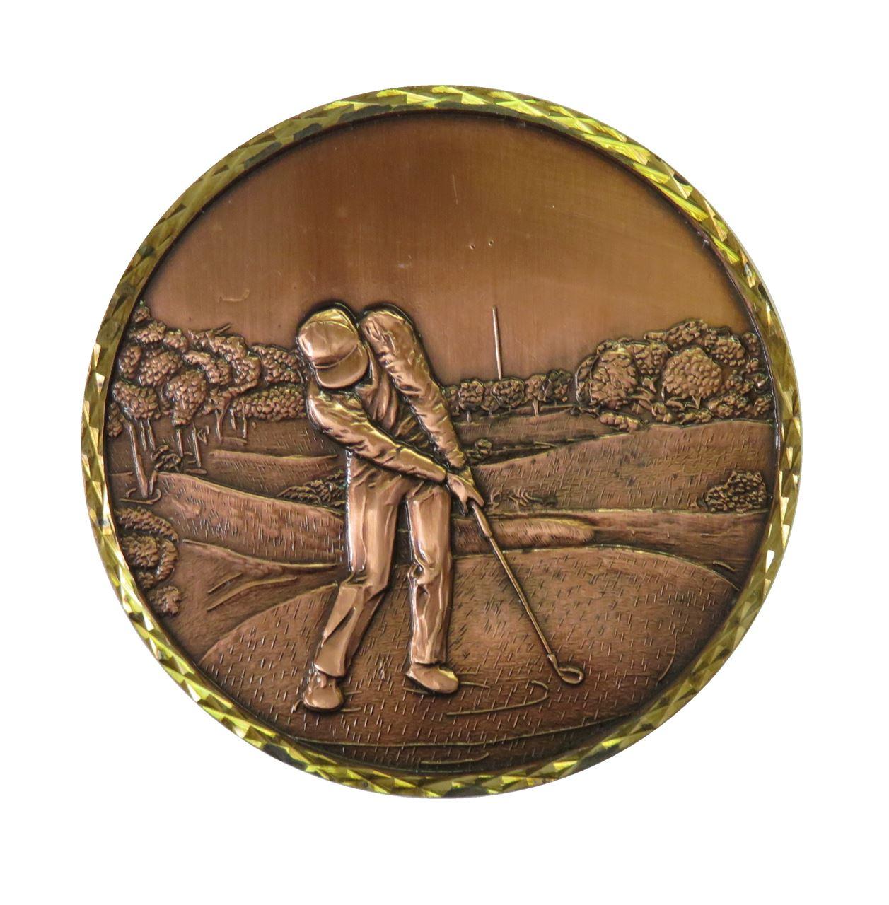 Copper Premium Brass Golf 1 Medal (size: 60mm) - Golf1