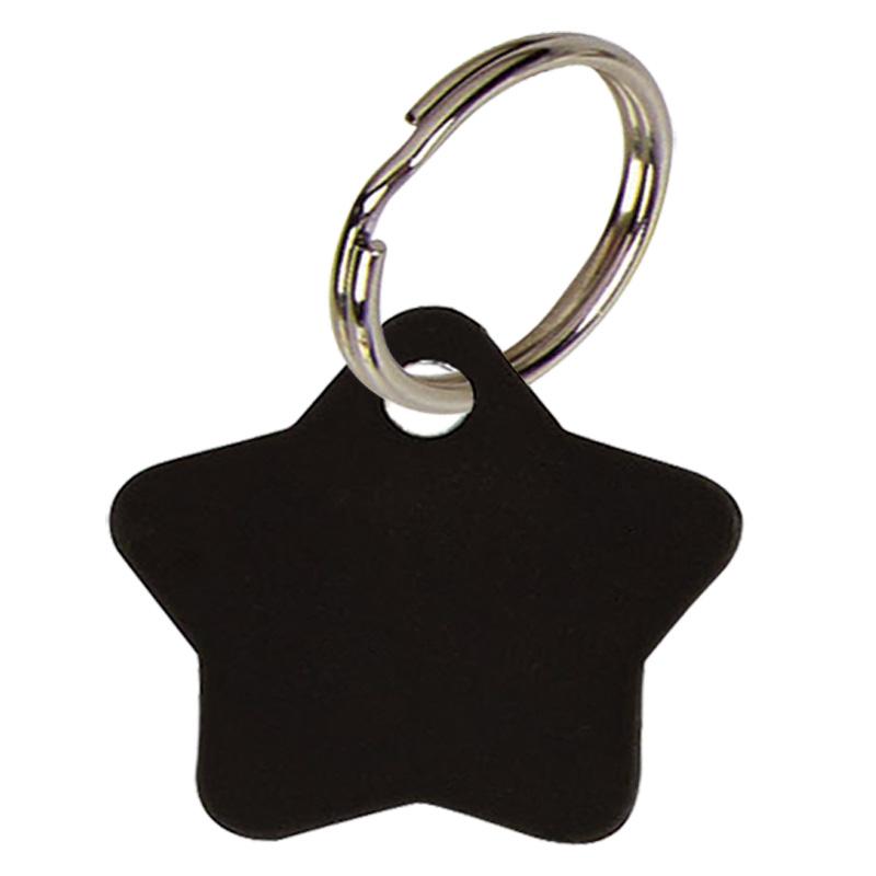 Star Anodised Alum Pet Tag - Black PT013B