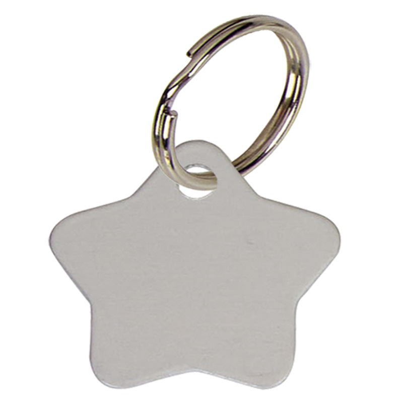 Star Anodised Alum Pet Tag - Silver PT013S