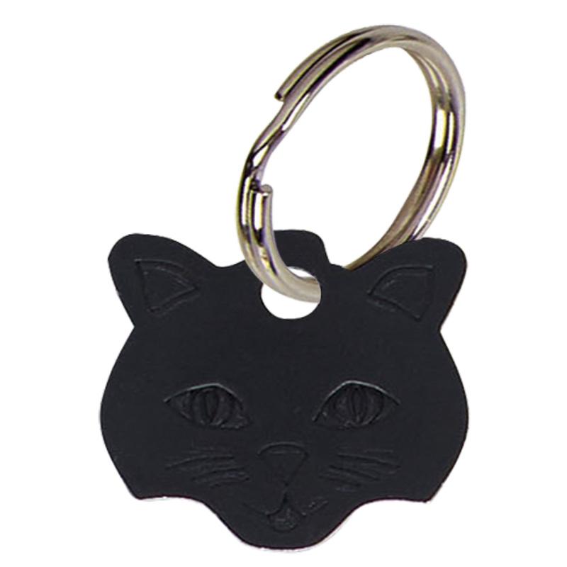 Cat Face Anodised Alum Cat Tag - Black PT009B