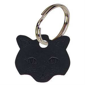 Cat Face Anodised Alum Cat Tag - Black PT009B