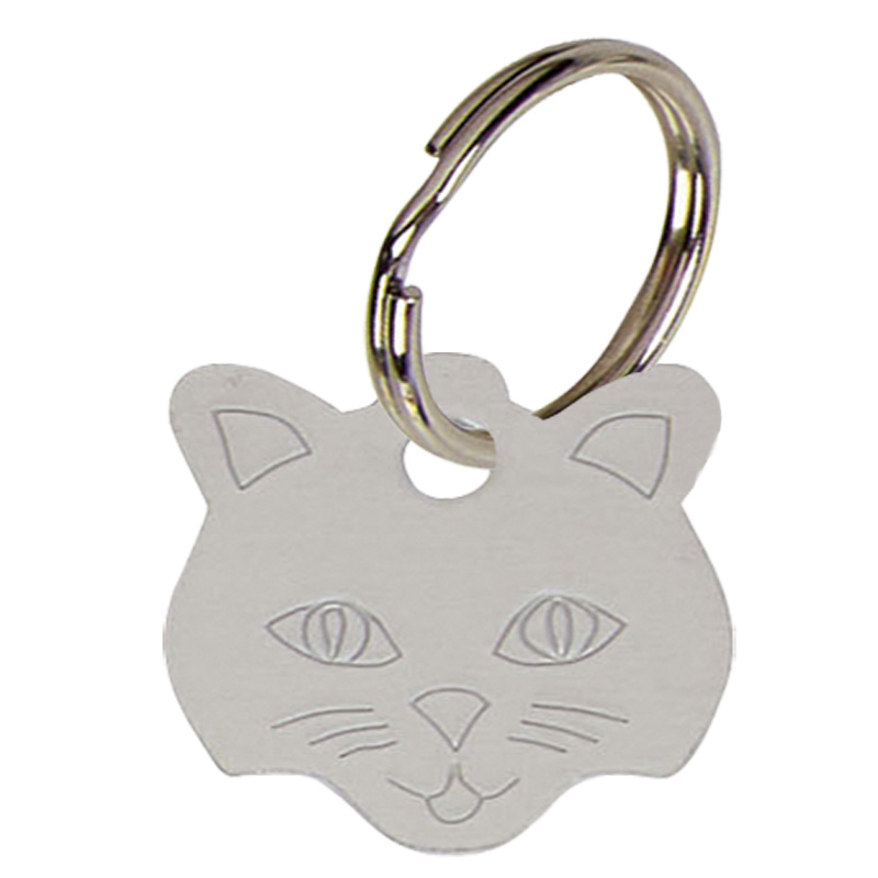 Cat Face Anodised Alum Cat Tag - Silver PT009S